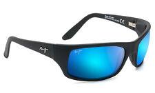 Maui Jim Peahi  B202-2M Sport Wrap Sunglasses Matte Black Blue Hawaii Glass Lens