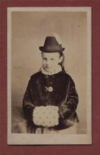 Young Girl.  Tyrolean Hat. Fur. Hand warmer    CDV photograph z.80a