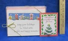 Christmas Cards Holiday Cartoon Houses 20 w/ Envelopes + Bonus Pin Brooch