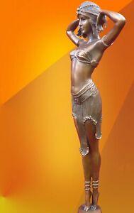 ART DECO CHIPARUS ILLUSION LIGHT PATINA HOT CAST BRONZE STATUE FIGURE GIRL