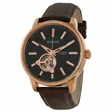 Bulova 97A109 Automatic Mechanical Collection Mens Watch |Black| |Brown Strap|