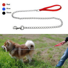 "48"" Heavy Duty Dog Chain Leash Soft Padded Nylon Handle Lead Clip Training S M L"