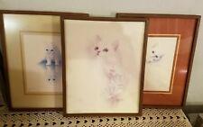 """Vintage Lot of 3 Signed Bob Harrison Cat Prints  8"""" x 10"""" Framed Playful Kittens"""