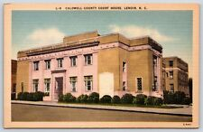 Caldwell County Court House in Lenoir, North Carolina Linen Postcard Unused