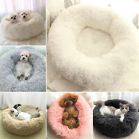 Puppy Pet Dog Cat Calming Bed Round Nest Warm Soft Plush Comfortable Cotton Mat