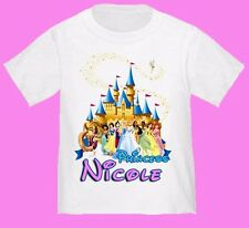 NEW DISNEY PRINCESS BIRTHDAY WHITE T SHIRT PARTY ADD NAME FAVOR GIFT