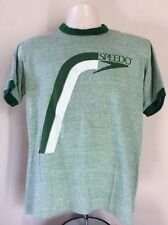 Vtg 80s Speedo Ringer T-Shirt Heather Green M/L Soft 50/50 Made In USA