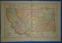 Vintage 1895 MONTANA Map Old Antique Original Atlas Map 2519