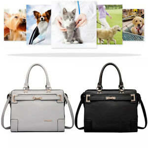 Breathable Puppy Carrier Dog Cat Portable Travel Carry Tote Cage Bag PU Leather