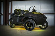 New Lowered Black / Gray Camo Electric Golf Cart Subwoofer Wheels Seats Led Amp