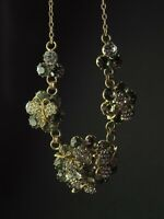 Fabulous Vintage Czech Bohemian Grey and Clear Glass Rhinstones Floral necklace