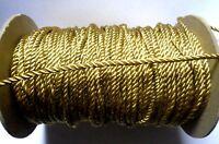 Metallic Twist  gold Cord - Rope, 1/8 inch price per 2 yard