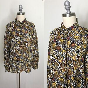 Vintage 80s SLB Baroque Tassel Print Silky Button Down Shirt Size Large