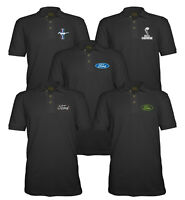 Velocitee Mens Polo Shirt Licensed Ford Mustang Shelby Snake Logo P1