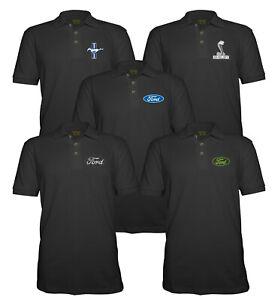 Velocitee Mens Polo Shirt Licensed Ford Mustang Shelby Snake Logo Design P1