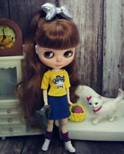 Fashion Doll Clothes Set For Blythe Doll Outfits Yellow Kitty Shirt Denim Skirt