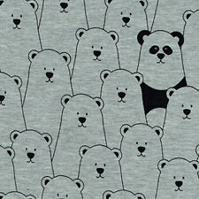 Hide & Seek Panda Bear Cotton Mix Jersey Stretch Fabric (Baby Nursery Children)