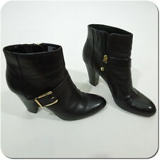 "DANA BUCHMAN Women's Black Leather 3 1/2"" Heel Booties w/ Gold Buckle size 9M"