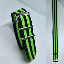 20mm NATO BOND cinturino per orologio nero verde con fibbia Rolex