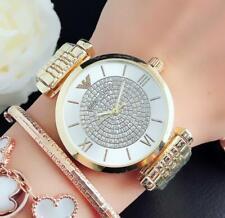 Women's Stainless Steel Dress Round Crystal Golden Wristwatch