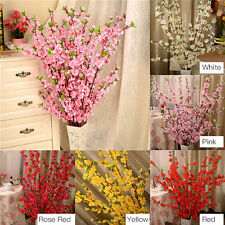 50 Artificial Cherry Spring Plum Peach Blossom Branch Silk Flowers Decor Trees