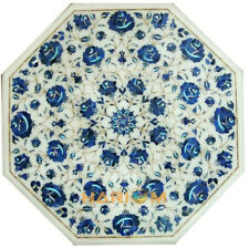 """24"""" Marble White Coffee Top Table Inlay Lapis Stone Furniture Indoor Decor W045"""