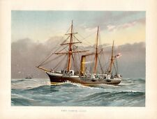 Stampa antica NIMPHE nave sloop vela e vapore 1892 Old antique print ship