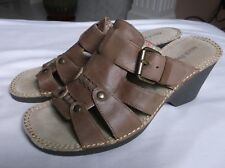 bb00a3a1ab8ef New ListingHush Puppies Havana Slide Women's Brown Leather Wedges Sandals  Buckle 8M