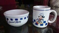 Disney Gourmet Mickey Mouse Chef ~ 2 Mugs & 2 Thick Cereal Ice Cream Bowls