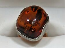 Gorgeous Sterling Silver 925 Abstract Design Large Amber Cabochon Ring Sz 5.625