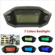 12V LCD Digital KMH Motorcycle Speedometer Odometer Tachometer 7Colors Backlight
