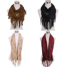 Scarf Laser Cut Out Faux Suede Infinity Flower Floral Trendy Soft Fringe new