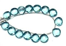 "Aquamarine Color Quartz 14MM Approx. Faceted Heart Shape Beads 8.5"" Strand"