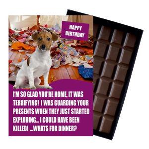 Jack Russell Birthday Card Dog Lover Gift Idea 100g Chocolate Bar Him Her UK