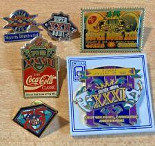 (6) Nfl Super Bowl Hat Lapel Pin Lot Xx Xxii Xxvii Xxix Xxxi 75th Anniversary