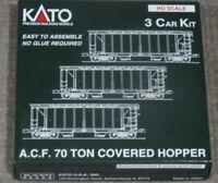 KATO USA HO Scale AC & F 70 Ton Milwaukee Rd Open Side Covered Hopper 3 Pack Kit