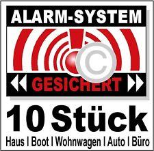 10 x Warn- Aufkleber Camping Einbruchschutz Fenstersicherung Haus Firma