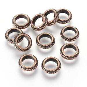 11x4mm Floral Textured Copper Rondelle Spacer Beads Rings 15ct