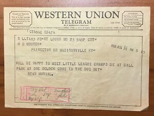 Stan Musial August 23,1960 Telegram from Stan Musial to Little League Champions
