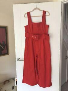 Anthropologie Red Cotton Wide Leg Crop Jumpsuit Size 16