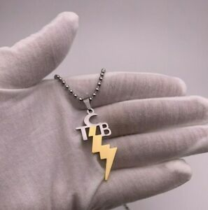 TCB ELVIS PRESLEY NECKLACE PENDANT STAINLESS STEEL GOLD BOLT w/ CHAIN USA SELLER
