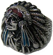 NATIVE INDIAN CHEIF W BONNET STAINLESS STEEL RING size 14 silver metal S-513 NEW
