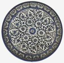 Blue and White Floral Plate - Circles. Armenian Ceramic, Israel, Diameter: 8.66""