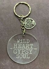 Wild Heart Gypsy Soul Engraved Acrylic Keyring Stocking Stuffer Gift Ideas