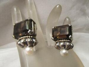 Lagos Caviar Large Smoky Quartz & Pearl Sterling Silver~18K Yellow Gold Earrings