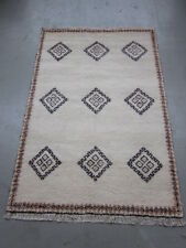 Original Berber Teppich Marokko Wolle 200x300cm weiß beige Nomaden Berberteppich
