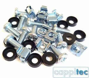 """10 PACK M6 CAGE NUTS BOLTS WASHERS FOR 19"""" RACK MOUNT DATA CABINETS 15mm THREAD"""