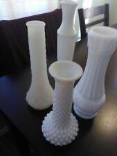 Vintage Milk Glass Assorted Bud Vases Florist Wedding Shower Lot of 4