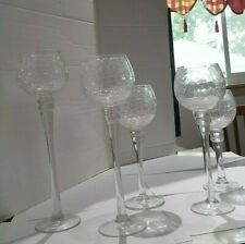 Pillar Crackle Glass Tea Light / Votive Candle Holders  Set / 5