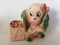 Cute Vintage Royal Copley Ceramic Dog and Basket Planter